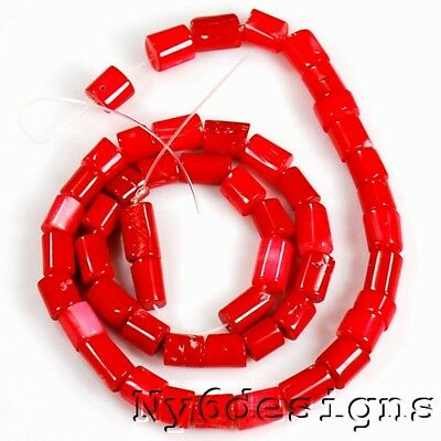 """6x7mm-11x7mm Red Coral Tube Beads 15"""" (CO31)b"""