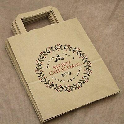 Merry Christmas Party Bags Kraft Brown with Handles x 10 Gift bags