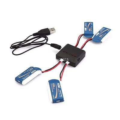 5 IN 1 Lipo Battery 3.7V 650mAh 20C with PCB + USB DC Charger for RC Quadcopter