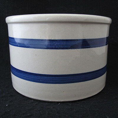 Robinson Ransbottom Roseville Ohio Crock Pot Bowl Gray with Blue Rings