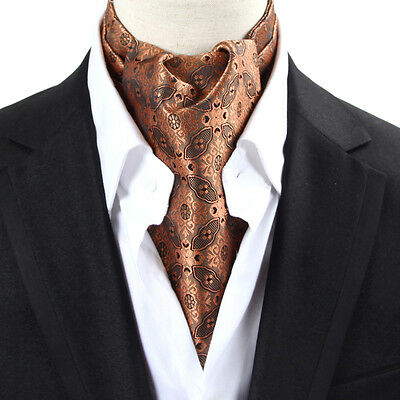 NEW  Men's Silk Cravat Ascot Tie Tan Floral Self-tied Scarves Scarf  Neck Tie