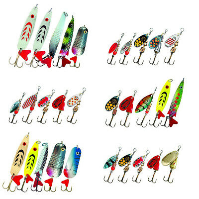 30X Spinner Set Angelzubehoer Angelset Blinker Spoon Tackle Zander Barsch H U6T9