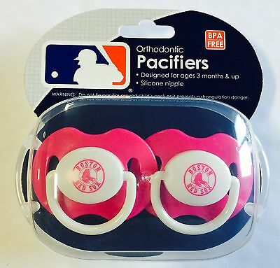 Boston Red Sox PINK Baby Infant Pacifiers NEW 2 Pack SHOWER GIFT! girls