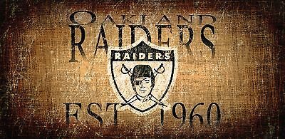 "Oakland Raiders Retro Throwback Established 1960 Wood Sign - NEW 12"" x 6"""