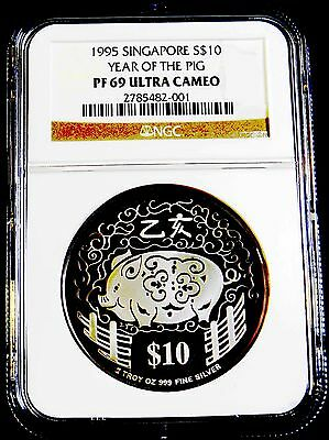 1995 $10 SINGAPORE 2oz Silver YEAR OF THE PIG PIEFORT NGC PF 69 ULTRA CAMEO