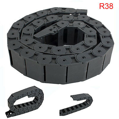 R38 18mm x 37mm Black Plastic Semi Closed Cable Drag Chain Wire Carrier 1M Long
