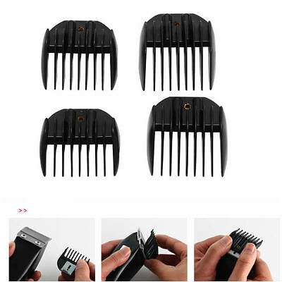Set 4 Guide Comb Attachment For Electric Hair Clipper Trimmer Shaver Black