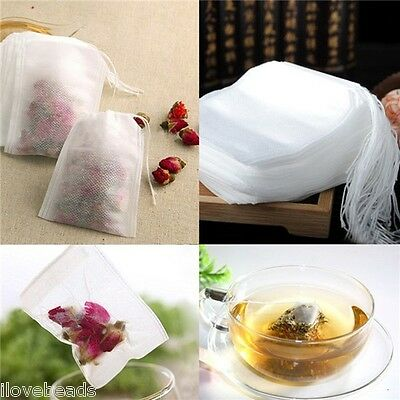 100x Empty Tea Bags Teabags String Heal Seal Filter Paper for Herb Loose Tea