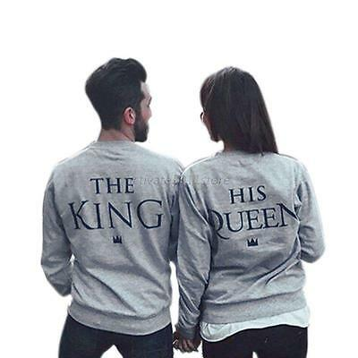 Fashion Hoodies Pullover Couple Matching King and Queen Print Casual Sweatshirt