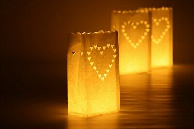48 x White Heart Candle Paper Bag Lantern Wedding Party Decoration Path