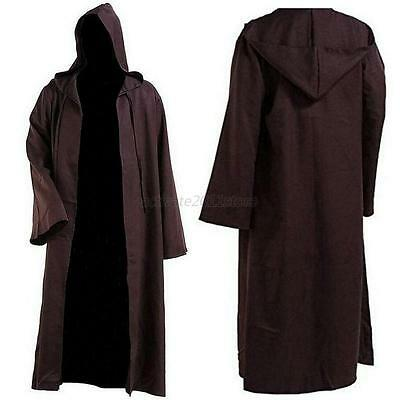 Adult Hooded Cloak Wicca Robe Medieval Witchcraft Cape Halloween Fancy Dress new
