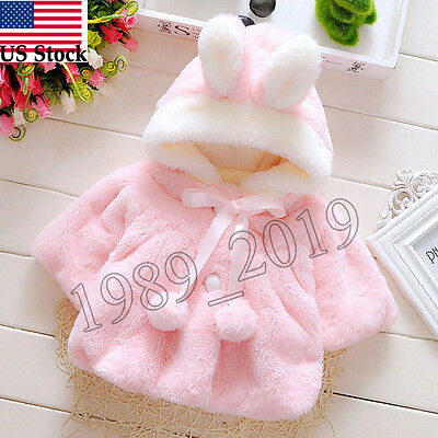 Baby Kid Infant Girls Fur Hooded Winter Warm Coat Cloak Jacket Thick Clothes Lot