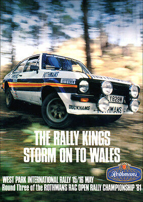 Ford Escort Mk2 Rs1800 Rally Retro A3 Poster Print From Welsh Rally Advert 1981