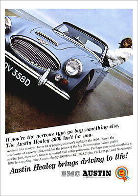 AUSTIN HEALEY 3000 mk3 RETRO A3 POSTER PRINT FROM CLASSIC 60's ADVERT