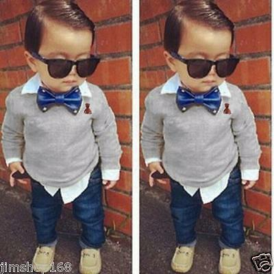 2PCS Kids Baby Boy Long Sleeve Shirt Tops+Long Pants Clothes Outfits Set LOT