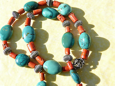 Antique Chinese turquoise and antique Moroccan Coral Necklace by Beadart-Austria