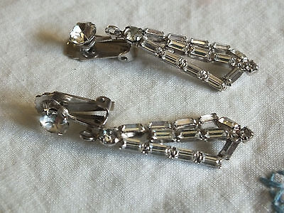 """Beautiful Clip Earrings Silver Tone Shiny Filled Sparkling Clear Rhinestones 2"""""""