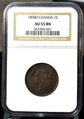 1898-H Canada Cent 1c KM#7- NGC AU55 Brown