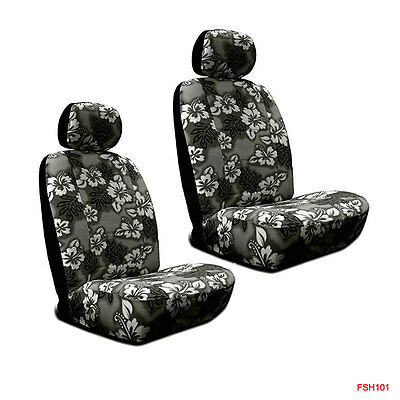 Hawaiian Car Seat Covers >> New Black Hawaiian Flowers Hibiscus Print Car Front Low Back