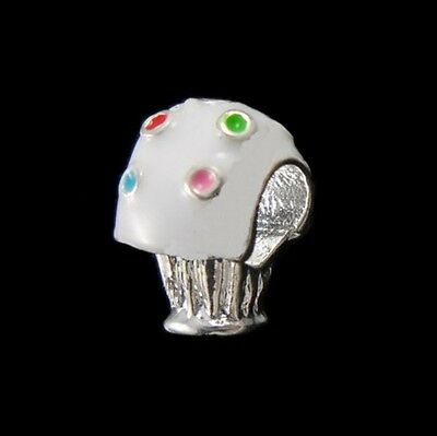 Colorful & White Enamel Cupcake Silver Plated Large 5mm Hole European Charm Bead