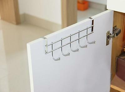 New Over Door Home Bathroom Kitchen Coat Towel Hanger Rack Holder Shelf 5 Hooks