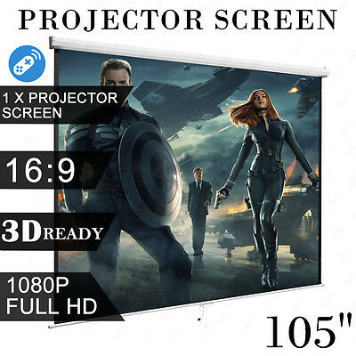 """105"""" Remote 3D HD TV Projection Electric Motorised Projector Screen Theatre"""