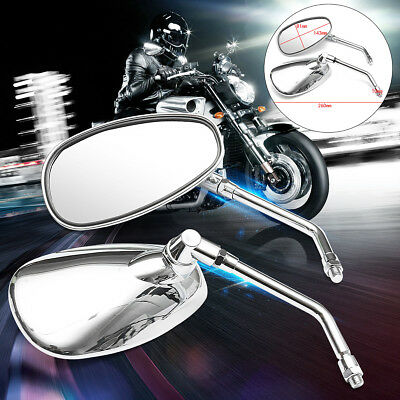 2pcs 10MM CHROME MOTORCYCLE OVAL REARVIEW SIDE MIRRORS FOR HONDA SUZUKI KAWASAKI