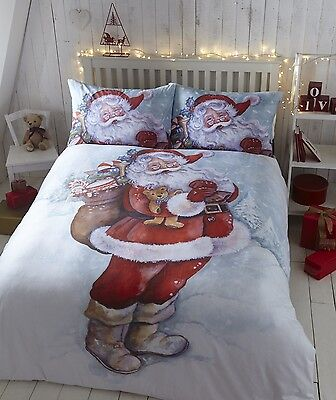 Father Christmas Santa Claus Duvet Quilt Cover Xmas Bedding Linen Set Red White