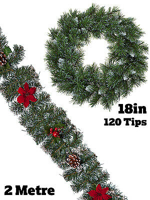 Christmas Garland Wreath Poinsettia Snow Tipped Festive Decoration Fir Pine Cone