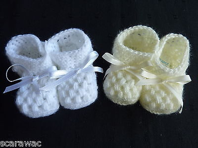 BABY  BOY/GIRL KNITTED BOOTEES, HAND MADE, approx. 0-3 mths .*NOW IN CREAM ONLY*