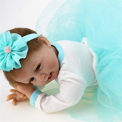 22'' Handmade Lifelike Reborn Baby Vinyl Silicone Smile Doll Girls & Blue Dress
