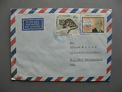 EL SALVADOR, cover to Germany 1988, ao cat Olympic Games Coubertin