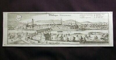 1642 fine panorama copper engraving MELLINGEN Canton Aargau over 370 year old
