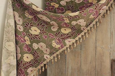 Antique French Arts and Crafts fabric green purple c1900 curtain drape w/ rings