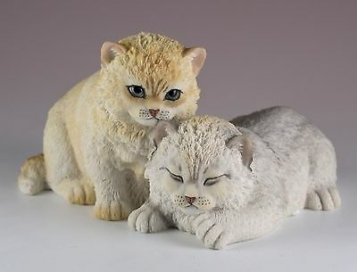 """Two Sleepy Furry Kittens Cat Figurine 5.5""""W Highly Detailed Polystone New In Box"""