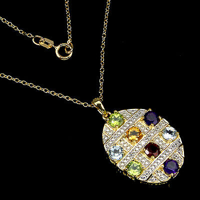 Sterling Silver 925 Gold Plated Genuine Natural Gemstone Pendant & 18 In Chain