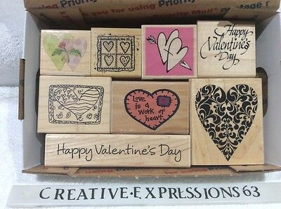 Lot Of 8 Valentines /Heart Wood Mounted Rubber Stamps ExCondition