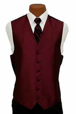 Medium Mens After Six Aries Burgundy Fullback Prom Wedding Tuxedo Vest & Tie