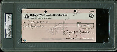 George Harrison The Beatles Authentic Signed 3.5x8 1971 Check PSA/DNA Slabbed