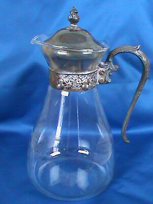 Vintage Glass and Silver Plate Water/Wine Pitcher