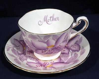 Royal Chelsea Bone China Purple Passion Flower Mother Cup and + Saucer Set