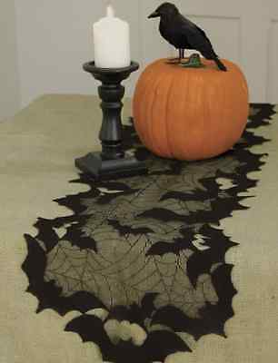 "Heritage Lace GOING BATTY Table Runner - 14"" x 72"" - Halloween - Black"