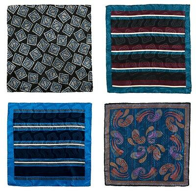 Lot of 4 Men's SANTOSTEFANO Hand Rolled Silk Handkerchief Pocket Square Bundle