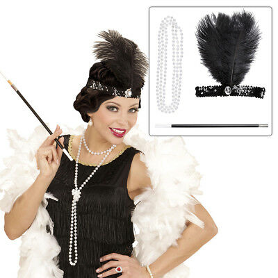 20s Charleston Costume Set Headdress Necklace Cigarette Holder 1930's Flapper