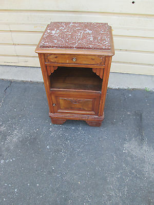 56843  Marble Top Oak Deco Nightstand End table Stand