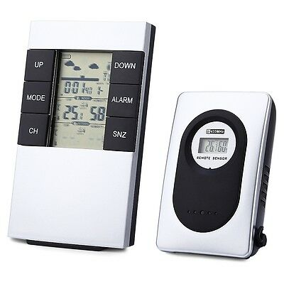 Wireless Weather Station Alarm Clock Indoor Outdoor Thermometer Humidity AAU
