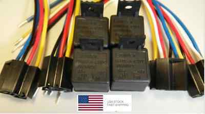12V Heavy Duty Relay  (4-PACK) 40A SPST 4-Pin W/Harness-1-YR Exchange--FREE SHIP