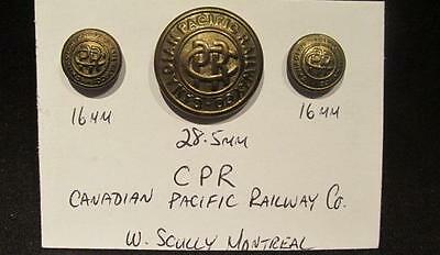 Canadian Pacific Railway Co Nice Selection of 3 Early Brass Buttons