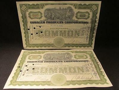 Tobacco Products Corporation 2 Common Stock Certificates 1925 for 100 Shares