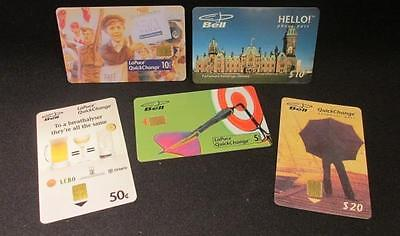 Bell Telephone Assortment of 5 Different Value Prepaid Phone Cards